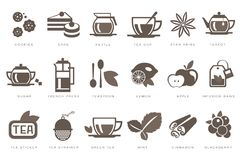 Tea time linear icons set, cookie, cake, kettle, cup, sugar, french press, teaspoon, lemon, apple, infusion bag Royalty Free Stock Image