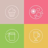 Tea time linear icons set 02 Royalty Free Stock Image