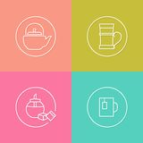 Tea time linear icons set 03 Royalty Free Stock Photo
