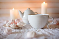 Tea time. Lunch with hot tea and diet dessert white and pink mar Royalty Free Stock Photo
