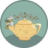 Tea time with mouse - Illustration Royalty Free Stock Images