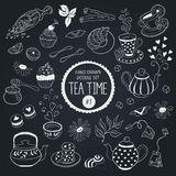Tea time objects set. Doodle tea time elements collection. Vector set of tea icons. Teapots, cups, cupcakes and sweets Royalty Free Stock Image