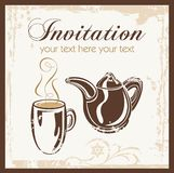 Tea time party invitation. With place for your text. Vector illustration Royalty Free Stock Photo