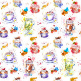 Tea time party repeating pattern. Cupcake cakes, tea, coffee cup Stock Photos