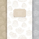 Tea time patterns set. Vector seamless pattern set with cute tea time cakes and desserts, collection of 3 patterns Stock Photo