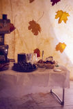 Tea time. Tea pause comes. There are many tasty things on the table Royalty Free Stock Images