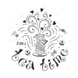 Tea time poster. Concept. Tea party card design. Hand drawn doodle illustration with teapots, cups and sweets Royalty Free Stock Photo