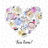Tea time poster. Concept. Tea party card design. Hand drawn doodle illustration with teapots, cups and sweets. Tea time objects in heart shape. I love tea Royalty Free Stock Images