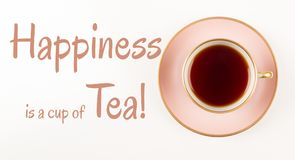 Tea time Quotes, Beautiful Pink and gold Cup of Tea, shot from above, Happiness is cup of tea,
