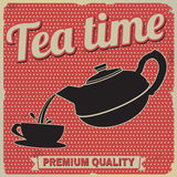 Tea time retro poster. On red in vintage style, vector illustration Royalty Free Stock Photography