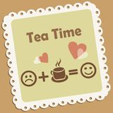 Tea time. Retro vector icon with smile and hearts Stock Images