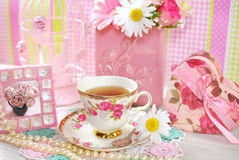 Tea time in romantic style Stock Photos