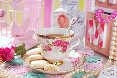 Tea time in romantic style Stock Photo