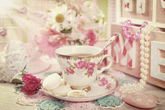 Tea time in romantic vintage style Stock Image