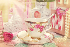 Tea time in romantic vintage style Stock Photo