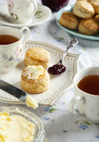 Tea time with scones Stock Photos