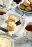 Tea time with scones stock photos