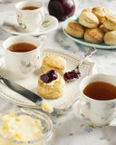 Tea time with scones. Tea time with homemade scones Royalty Free Stock Photo