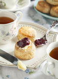 Tea time with scones. Tea time with homemade scones Royalty Free Stock Image