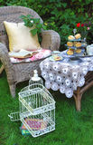 Tea time with scones, jam and double cream. In the garden Stock Images