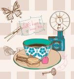Tea time seamless background Stock Photos