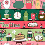 Tea time seamless background pattern. With teapots  kettles  cakes  sweets  cups  candy  honey and an alarm clock arranged in alternating pink and green rows in Royalty Free Stock Photo