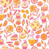 Tea time seamless pattern Royalty Free Stock Images