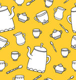 Tea time seamless pattern for design. Stock Photo