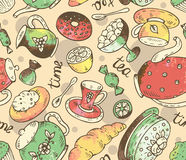 Tea time seamless pattern with doodle elements and watercolor te Royalty Free Stock Images