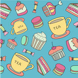Tea time seamless pattern with hand drawn doodle elements. Stock Image