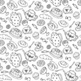 Tea time seamless pattern with hand drawn doodle elements. Royalty Free Stock Photo