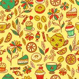 Tea time seamless pattern Stock Photos