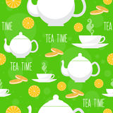 Tea time seamless pattern. Tea teapot, cup. Royalty Free Stock Photos
