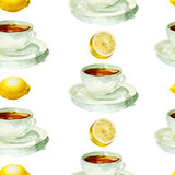 Tea time. Seamless pattern with watercolor cup of tea and lemon on white background vector illustration