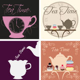 Tea time. Set of backgrounds with text and tea elements. Vector illustration Royalty Free Stock Photography
