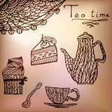 Tea time set card. Card with tea accessories and doodle flowers Royalty Free Illustration