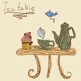 Tea time set card. Card with tea accessories on tea-table. Drawn in the style of hand-drawn Stock Illustration