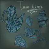 Tea time set card. Blue card with tea accessories and doodle flowers Stock Illustration