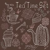 Tea time set card. Brown card with tea accessories and doodle flowers Stock Illustration