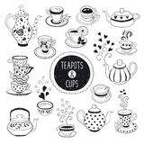 Tea time set. Hand drawn teapot and cup collection. Doodle tea cups, coffee cups and teapots  on white background. Vector illustration on tea time icons for cafe Royalty Free Stock Photos