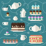 Tea time set. Perfect for Tea Party Invitation, feast engagement, poster. Flat concept background Royalty Free Stock Photography