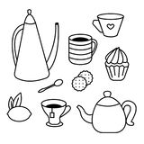 Tea Time set of tea pots, coffee cups, cakes, muffins, snacks and desserts. Coloring book for adults and children royalty free illustration