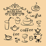 Tea time silhouette set Stock Images