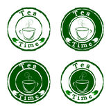 Tea time stamps set Stock Images