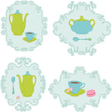 Tea time stickers Royalty Free Stock Images