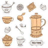 Tea time still life set, sketch, doodle, hand draw. Royalty Free Stock Photo