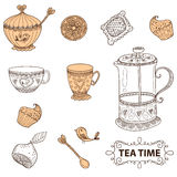 Tea time still life set, sketch, doodle, hand draw Royalty Free Stock Images