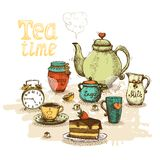 Tea time still life. Set vector illustration Stock Photography
