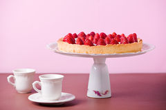 Tea Time With Strawberry Pie Stock Photography