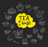 Tea time. Swirls, mugs, teapot, cakes, buns, cups of different designs. Style drawn chalk on blackboard. Suitable  Royalty Free Stock Image